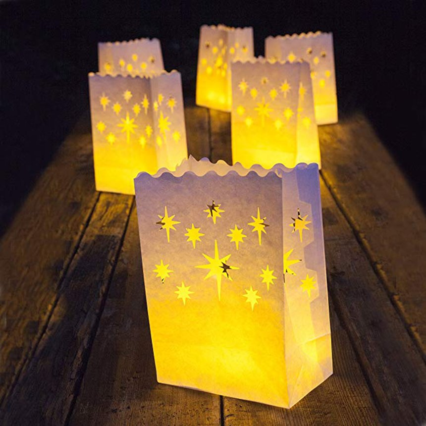 20 Count Flame Resistant Paper Fascola Christmas Tree Luminary Bag Candle Bag Light Holder for Home Outdoor Christmas Wedding Reception Holiday Party and Event Occasion Decoration