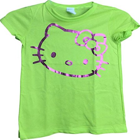 fb43649a Hello Kitty - Hello Kitty (Style 11) Outline Face Graphic Neon Green Girls  T-Shirt 6/8 - Walmart.com
