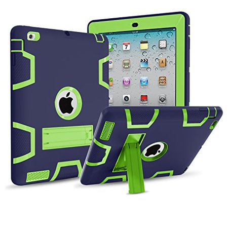 IPad 4/3/2 Case,Mignova Three dual Layer [Impact Protection][Shock Proof] Armor Defender Full Body Case for Apple iPad 4 Case,ipad 3 Case,ipad 2 Case Generation 9.7 inch (Navy (Best Kid Proof Ipad Case)