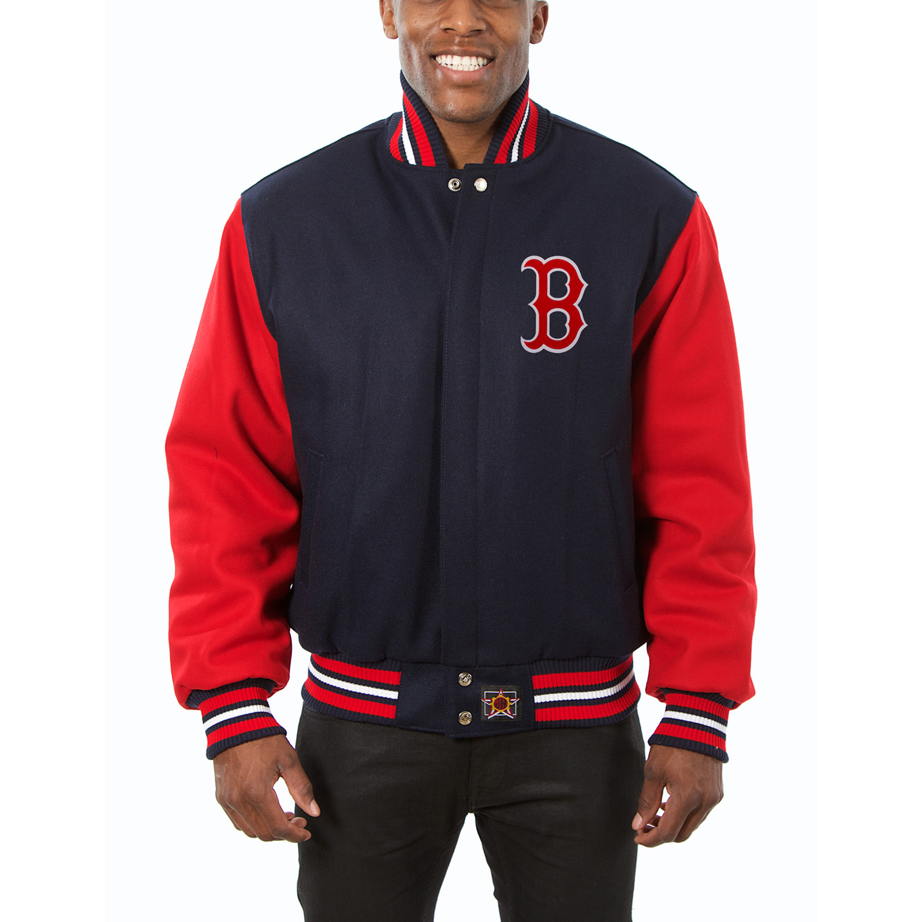 Boston Red Sox JH Design Wool Full-Button Jacket - Navy/Red