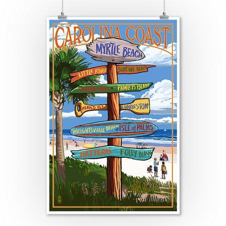 Myrtle Beach, South Carolina - Destinations Sign - Lantern Press Artwork (9x12 Art Print, Wall Decor Travel Poster)](Halloween South Beach 2017)