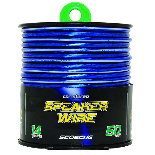 Scosche 14-Gauge CCA Speaker Wire, Blue, 50' Spool