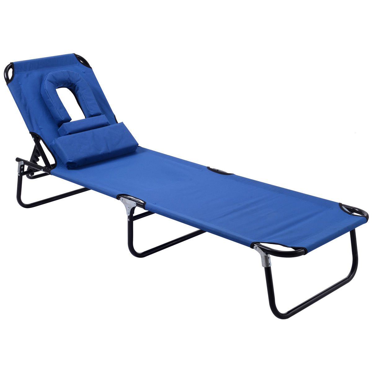 Goplus Foldable Patio Chaise Lounge Chair Bed Outdoor Beach Camping  Recliner Pool Yard