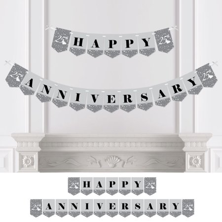 25th Anniversary - Party Bunting Banner - Silver Party Decorations - Happy Anniversary - Ruby Wedding Anniversary Banners