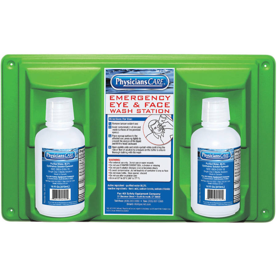 Physician's Care Emergency Eye & Face Twin Bottle Wash Station Kit, 4 pc