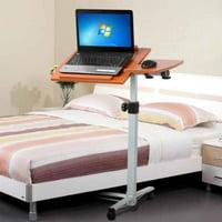 Ktaxon Angle & Height Adjustable Mobile Laptop Notebook Desk Rolling Stand Cart Castors Bed Table Brown