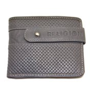 Religion Men's Textured Leather Wallet One Size Grey