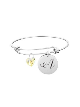 a43dd34e881 Product Image Sterling Silver Initial Bangle with Genuine Swarovski Crystal