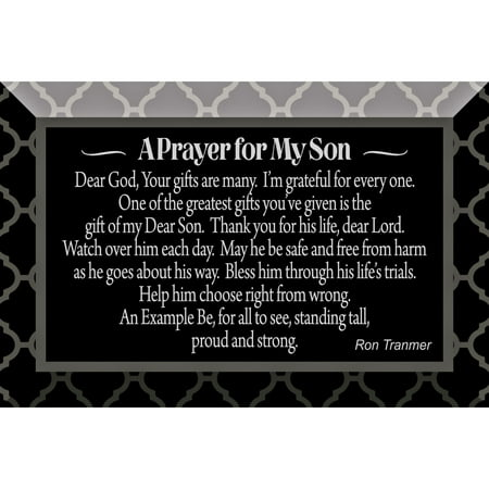 Prayer For My Son Glass Plaque with Easel 4 inches x 6 - Stain Glass Plaque