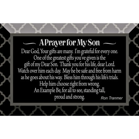 Prayer For My Son Glass Plaque with Easel 4 inches x 6