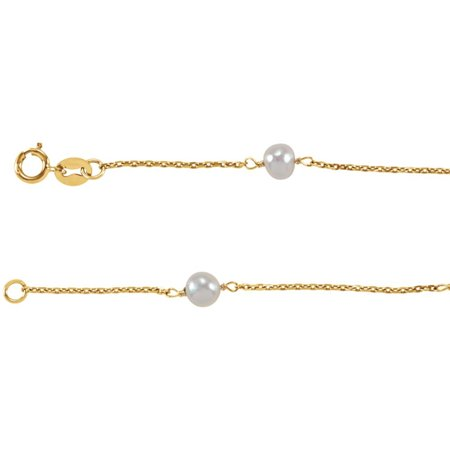 14k Yellow Gold Childs Bracelet With Freshwater Cultured Pearl