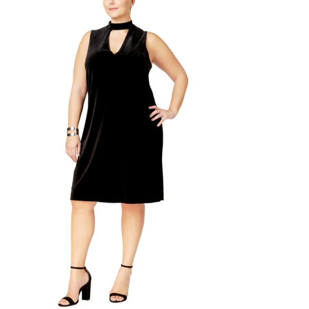 Soprano Womens Plus Velvet Sleeveless Semi-Formal Dress (Plus Size Velvet Veil)