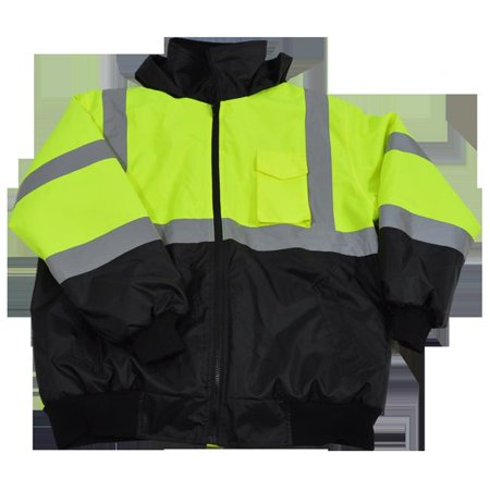 petra roc lqbbj-c3-5x lime & black waterproof bomber jacket ansi class 3 quilted liner rollaway hood 2 slash pocket 1 cell pocket, 5x