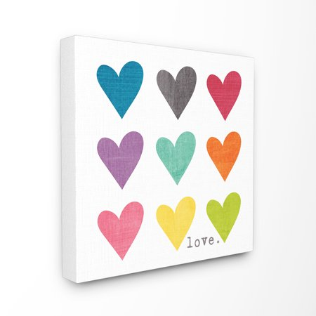The Stupell Home Decor Collection Watercolor Cute Hearts Love Stretched Canvas Wall Art, 17 x 1.5 x 17 - Heart Decor