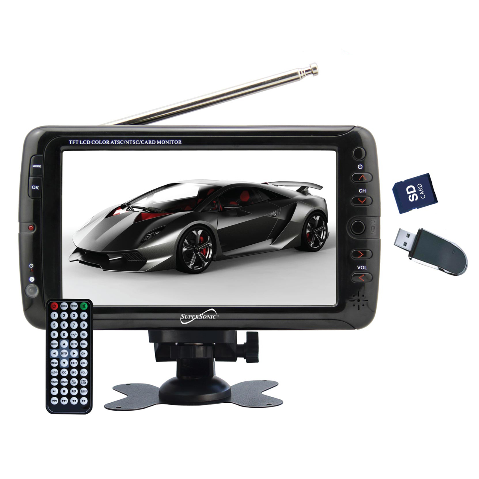"Supersonic 7"" Portable Rechargeable Digital LCD TV"