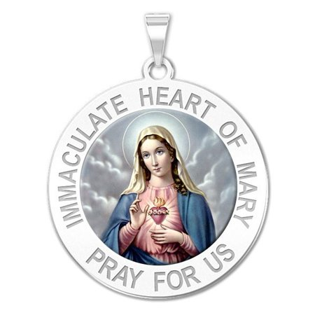 Immaculate Heart of Mary Religious Medal Color - 1 Inch Size of a Quarter -Sterling Silver