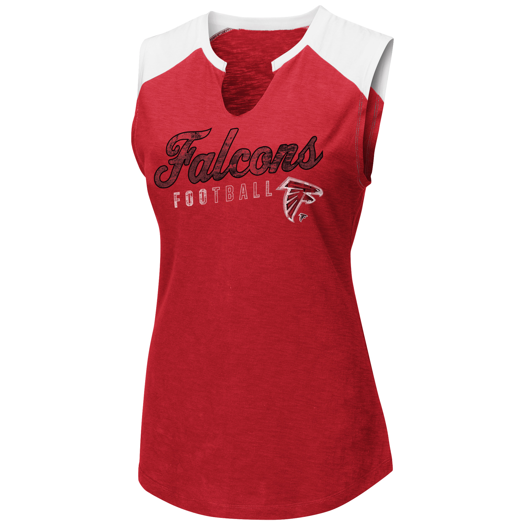 Women's Majestic Red/White Atlanta Falcons V-Notch Muscle Tank Top