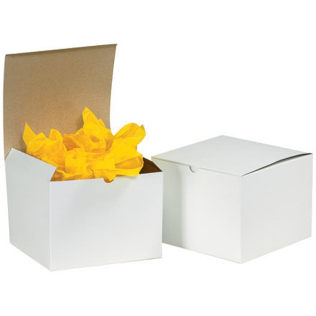 "Box Helmets White Gift Boxes 6"" x 6"" x 4"" - 100 Pack"