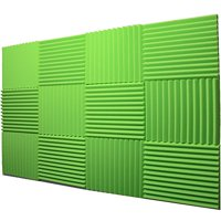 "12 Pack Acoustic Panels Studio Foam Wedges 1"" X 12"" X 12"" (Hi liter Green) Fire Resistant"