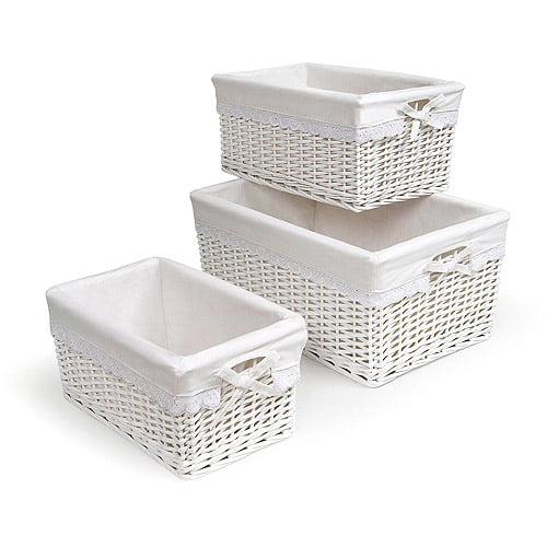 Badger Basket - Set of Three Baskets, White