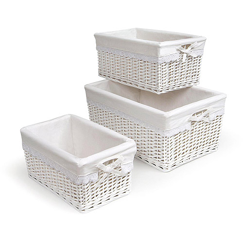 Badger Basket - Set of Three Baskets, White