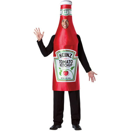 Homemade Wine Bottle Halloween Costume (Heinz Ketchup Bottle Men's Adult Halloween Costume, One Size,)