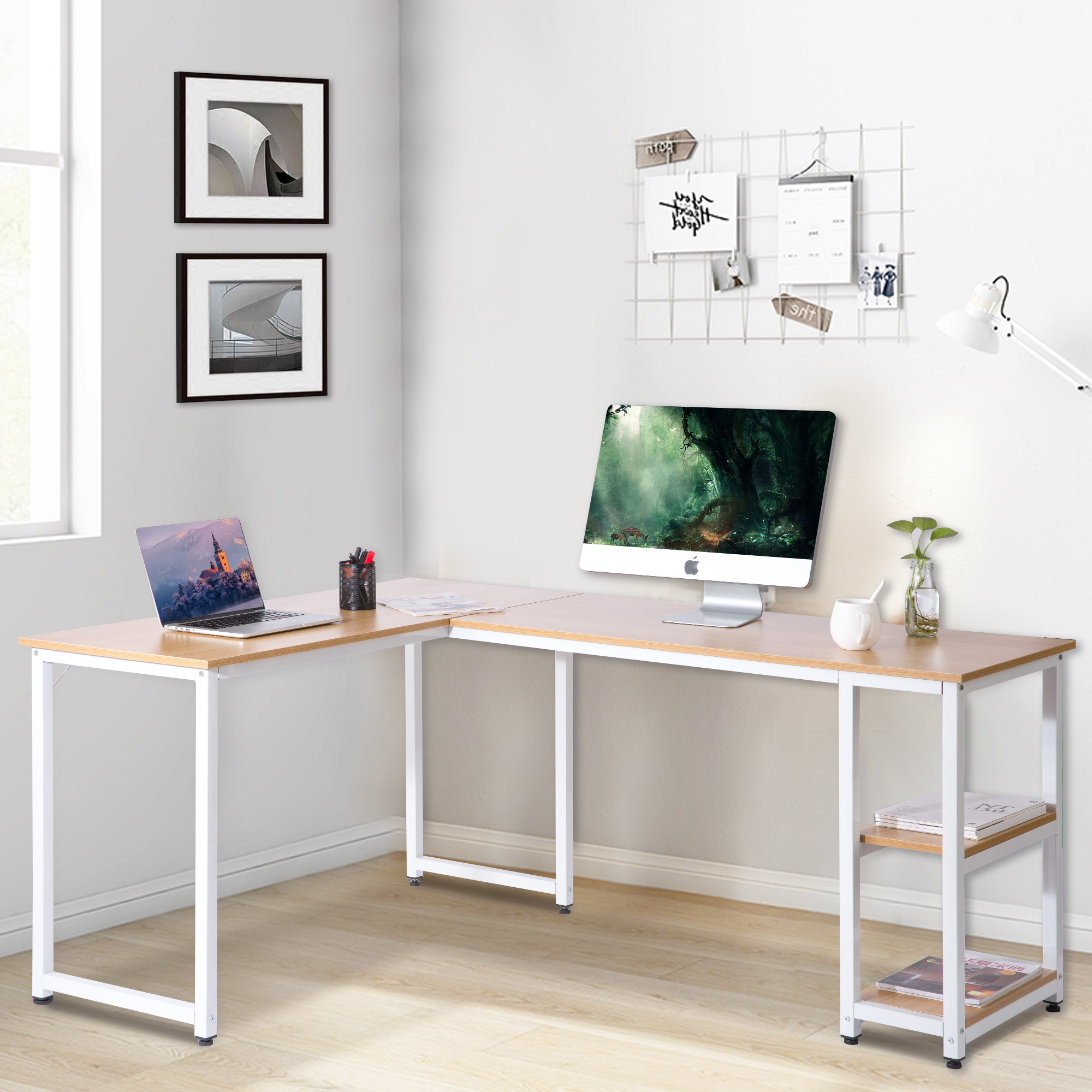 Modern Luxe L-Shaped Computer Desk with Side Storage Shelves,Oak