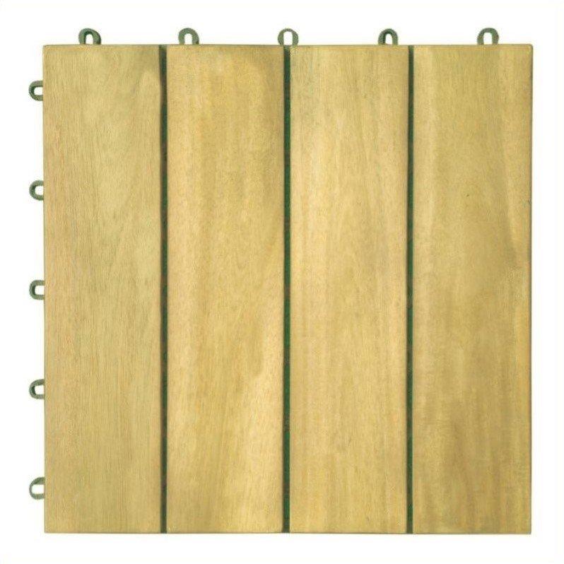 4 Slat Acacia Interlocking Deck Tile (Teak Finish)