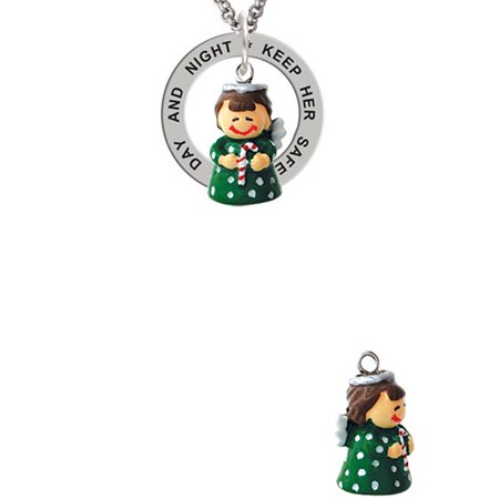 Resin Green Angel Holding Candy Cane Keep Her Safe Both Day And Night Affirmation Ring Necklace