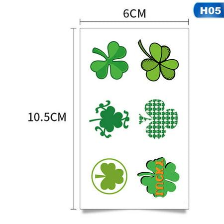 AkoaDa 5 Sheets\/Set Happy St. Patrickand#39;S Day Festive Tattoo Sticker Green Lucky Grass Patterned Irish Tattoos Waterproof Temporary Tattoo Sticker Face (St Patrick's Day Makeup)