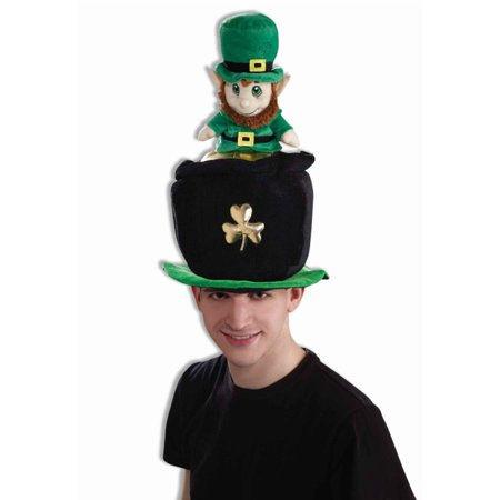 Adults Luck Of The Irish Felt Leprechaun Pot Of Gold Top Hat Costume Accessory