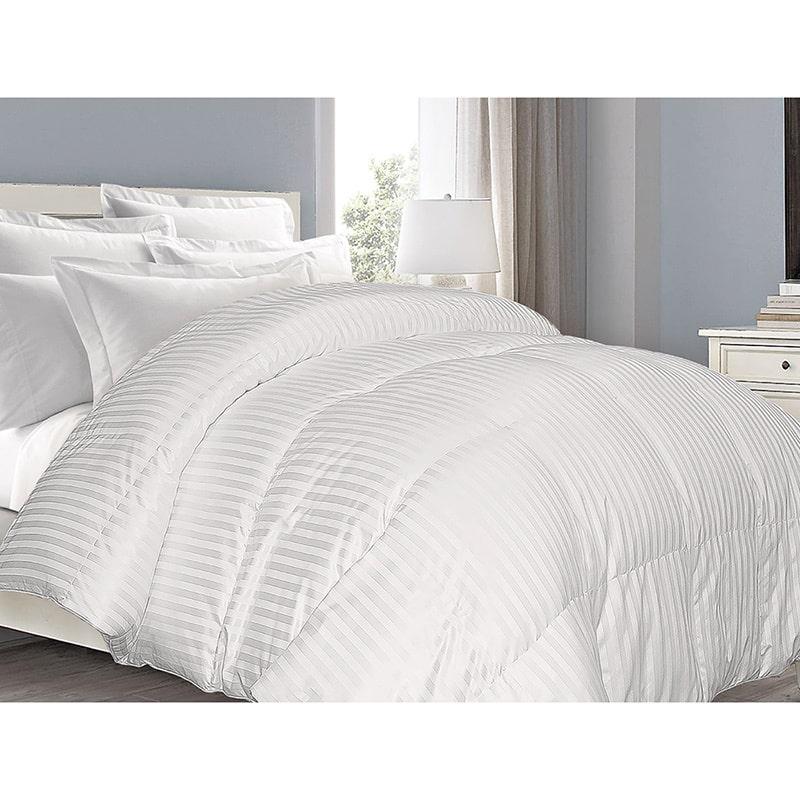 Blue Ridge Home Fashions Supreme 350 Thread Count Cotton Damask White Down Comforter