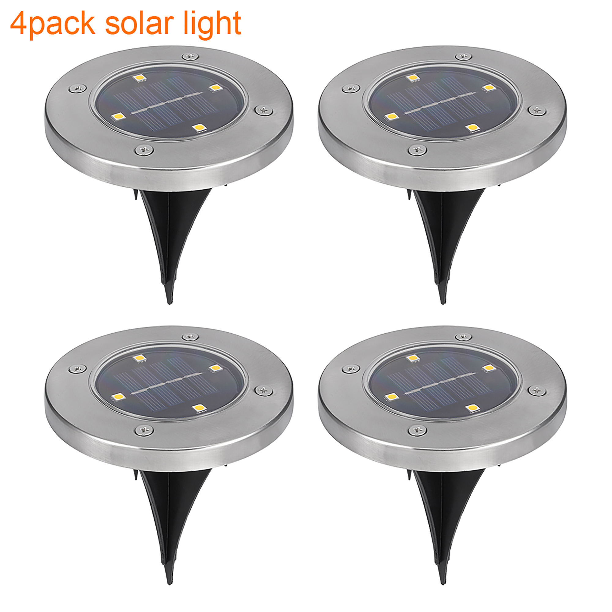 Solar Ground Lights 4 LED Garden Landscape Pathway Light Warm White 4 Pack