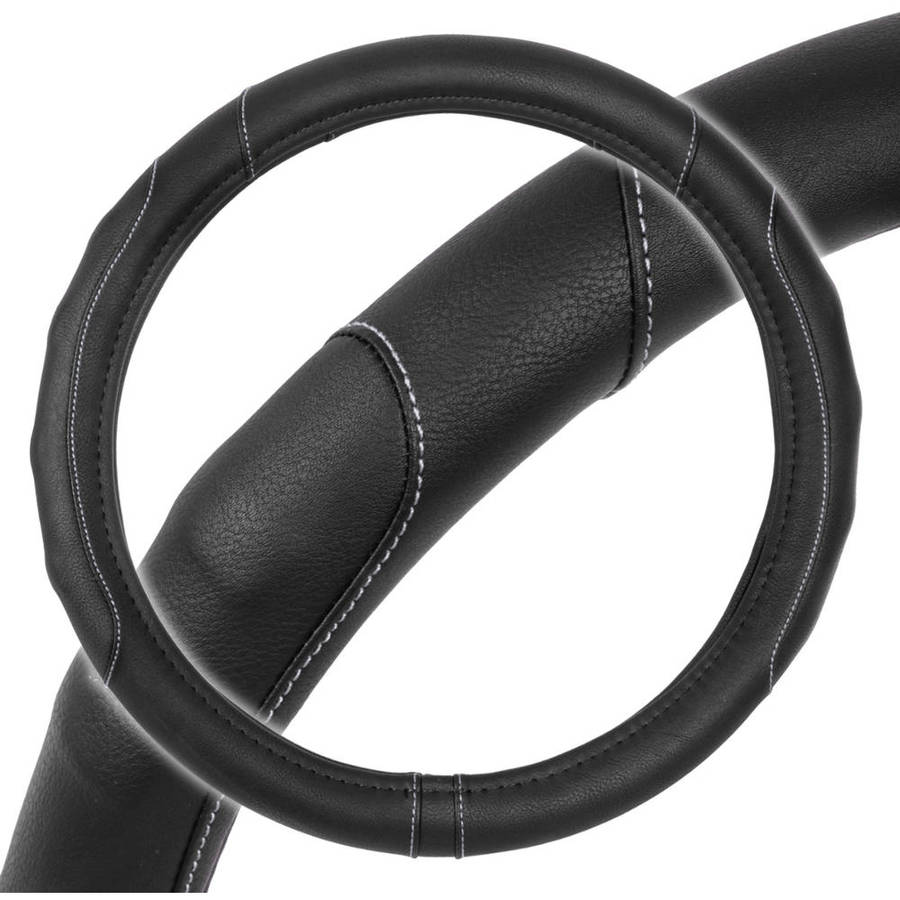 GripDrive Pro Synthetic Leather Car Steering Wheel CoverAccent Stitching, Odorless & Comfort Grip (2 Size & Multi Color)