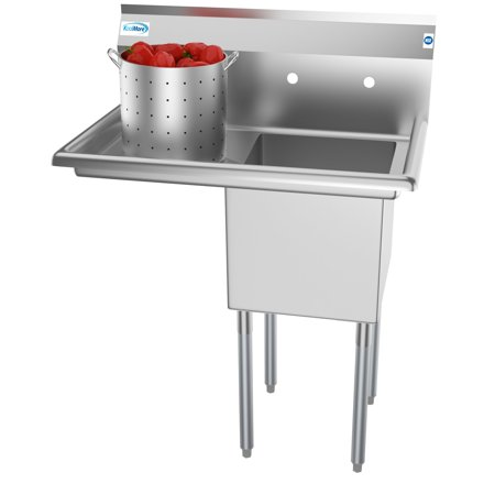 "1 Compartment 33"" Stainless Steel Commercial Kitchen Prep & Utility Sink with Drainboard - Bowl Size 15"" x 15"" x 12"""