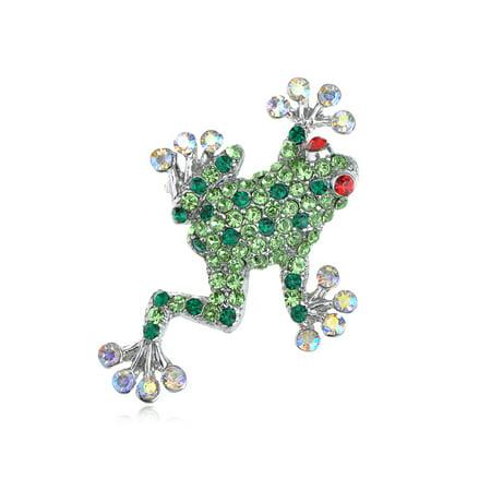 Studded Peridot, Fashion, Ruby Red Eye Opal Crystal Rhinestone Frog Brooch Pin