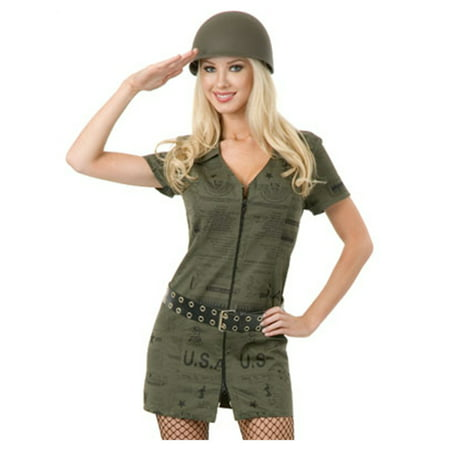Womens  Green Double Zip GI Dress Army Soldier Costume