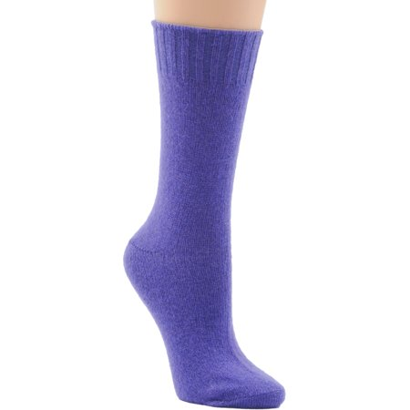 Womens Socks Crew Virgin Wool Cashmere Blend 23 Color Choices Made -