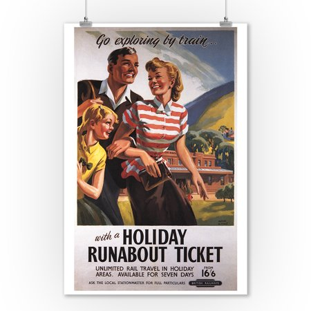 Family Trio on Holiday Runabout Savings British Rail Poster (9x12 Art Print, Wall Decor Travel Poster)