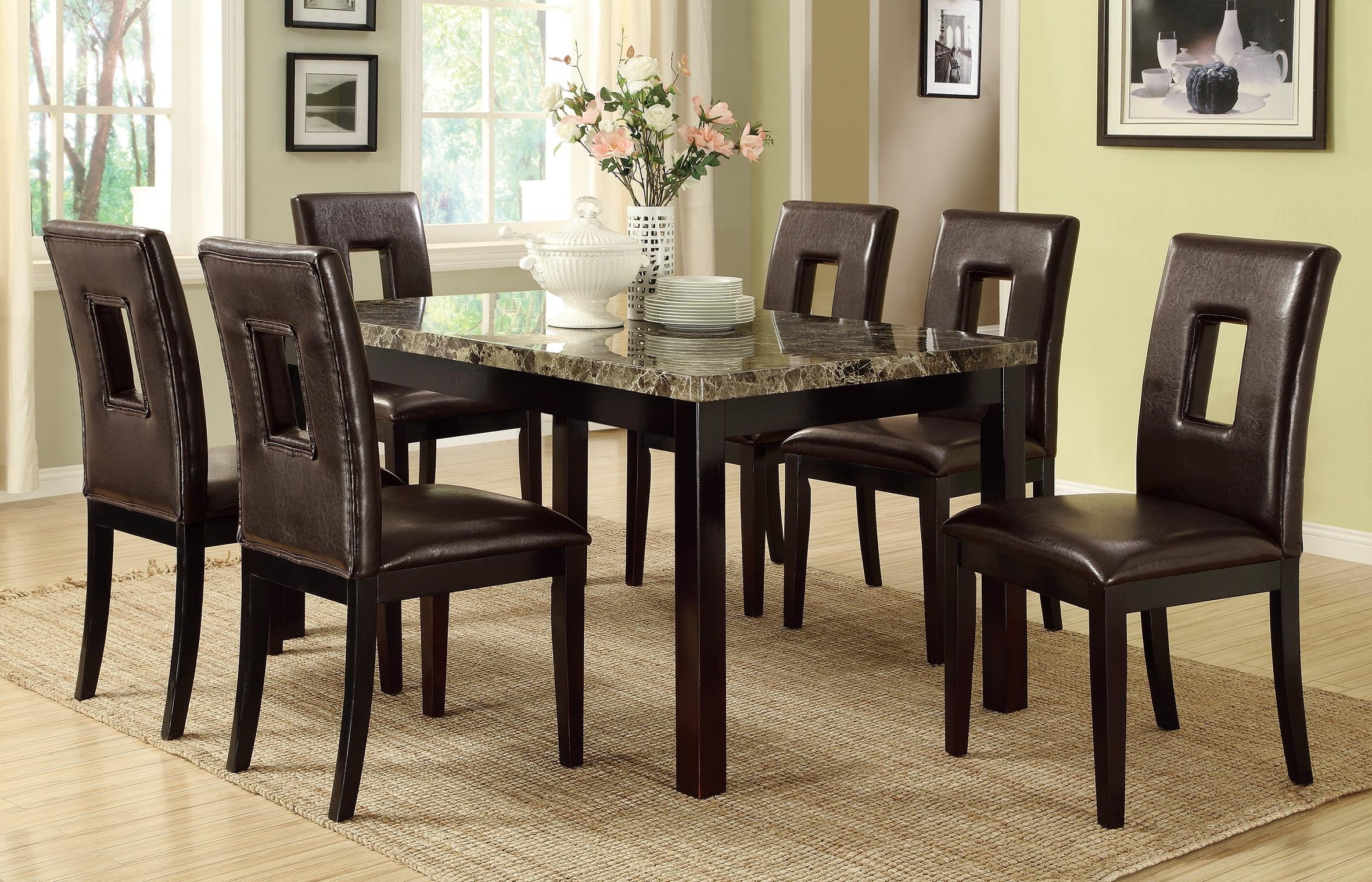 Luxury Look Dark Brown Marble Top Table Casual 7pc Dining ...