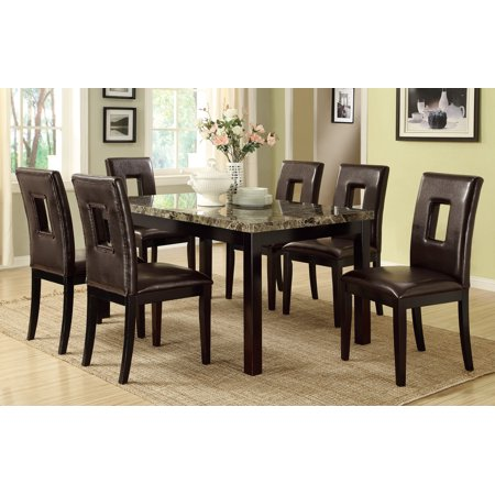 Luxury Look Dark Brown Marble Top Table Casual 7pc Dining Set in Espresso Color Chairs Faux Leather Upholstery Kitchen Dining Room Furniture