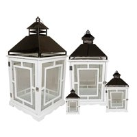 """Set of 4 Cottage Style White Wooden Lanterns with Silver Handles 13-35"""""""