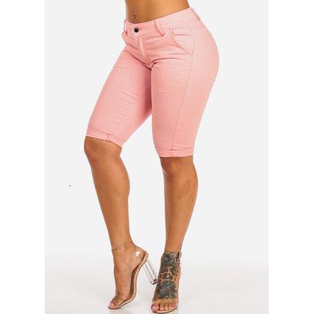 Womens Juniors High Waist Pink One Button Pockets Cuffed Hem Bermuda Shorts 10723L