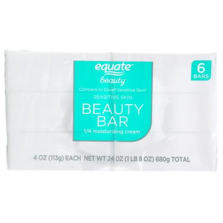 24 Fluorescent Bath Bar - Equate Beauty Sensitive Skin Beauty Bar, 24 Oz, 6 Count