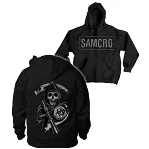 Sons of Anarchy Samcro Boxed Reaper Full Zip Hoodie Sweatshirt