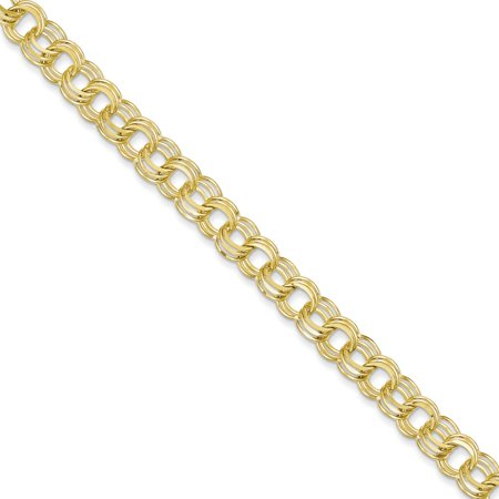 Solid 10k Yellow Gold Triple Link Pendant Charm Bracelet 7