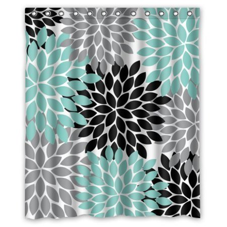 GreenDecor Black Grey Green Dahlia Floral Waterproof Shower Curtain Set with Hooks Bathroom Accessories Size 60x72 inches