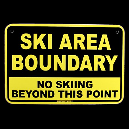 Ski Lodge Decor (NO SKIING BEYOND POINT Ski Area Boundary Warning Sign Bar/Pub/Lodge Wall)