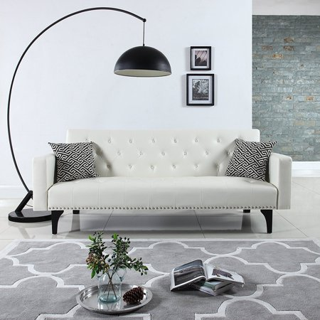 Modern Tufted Bonded Leather Sleeper Futon Sofa With Nailhead White