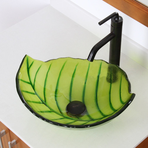 Elite Hot Melted and Hand Painted Spring Leaf Transparent Bowl Glass Specialty Vessel Bathroom Sink